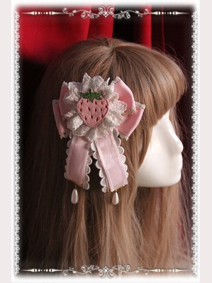 "Infanta ""Strawberry Little Chef"" Lolita Hairclip / Brooch (2)"