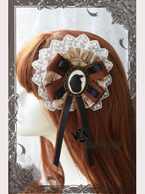 Magic Tea Party raven and writing-desk Hairclip or brooch
