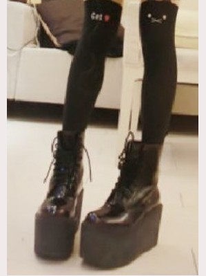 Black mid-calf lace up boots