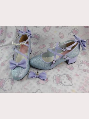 Lolita Glitter Shoes (Silver x purple bow)