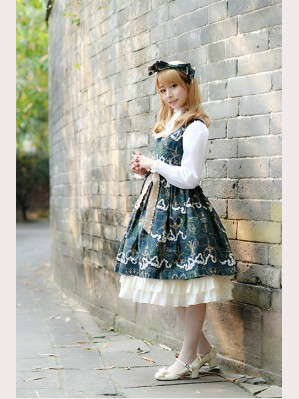 Milu Forest Antique scissors lolita dress JSK & KC Set (long version)