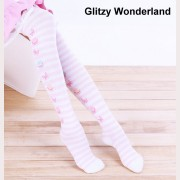 Striped Macaron lolita over knee socks Otks
