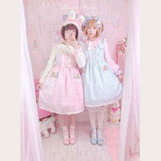 Diamond Honey Good Night Bear Plaid Lolita Dress
