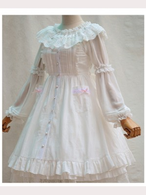 White Elegant Retro Lolita Dress JSK
