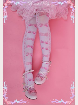 Diamond Honey Plaid Bows Lolita Thigh-high socks