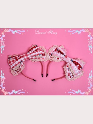 "Diamond Honey "" Strawberries picnic rabbit "" lolita headbow KC"