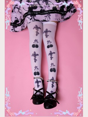 Diamond Honey Cross & Cherry Lolita Thigh-high socks