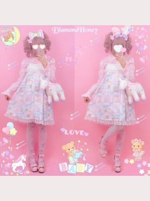 Diamond Honey Good Night Rabbit & Bear Lolita Dress JSK