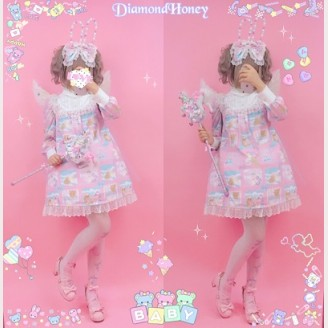 Diamond Honey Good Night Rabbit & Bear Lolita Dress OP
