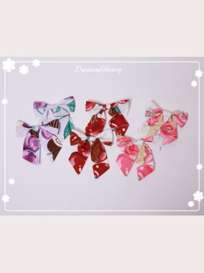 Diamond Honey Strawberry & Chocolate Lolita Headbow Hairclip x 1 pair