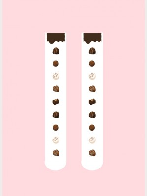 Diamond Honey Chocolate Lolita Thigh-high socks