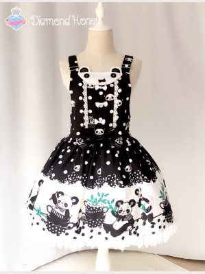 "Diamond Honey ""Breakfast Panda"" lolita suspender skirt"
