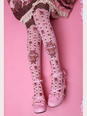 "Diamond Honey "" Chocolate Bear "" Lolita Thigh-high socks"