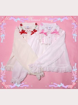 Diamond Honey Strawberries Embroidery Blouse (Long Sleeves)