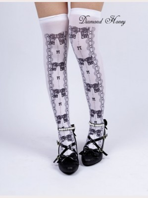 Diamond Honey Bows & Lace print Lolita Thigh-high socks