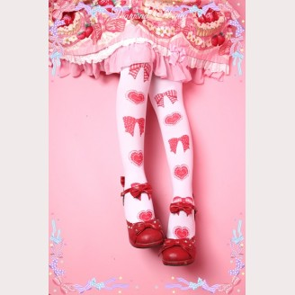 Diamond Honey Bow & Heart Lolita Thigh-high socks
