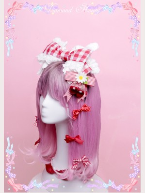 Diamond Honey Red Plaid Lolita Headbow KC