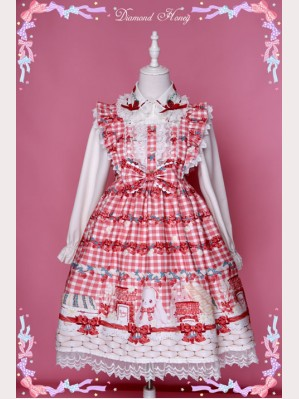Diamond Honey Strawberries picnic rabbit Lolita Dress JSK (DH01)