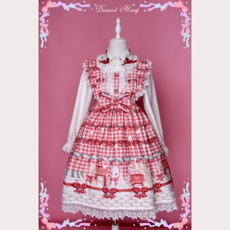 "Diamond Honey "" Strawberries picnic rabbit "" Lolita Dress JSK"