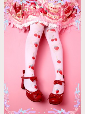 Diamond Honey Cherry & Strawberry Lolita Thigh-high socks