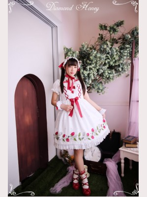 Diamond Honey Strawberry embroidery Lolita Dress JSK