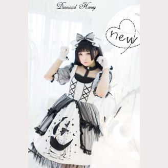 Diamond Honey Crescent Moon Cat lolita dress OP