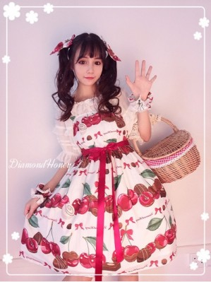 Diamond Honey Cherry & Chocolate Lolita dress JSK