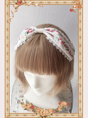 Infanta Plaid strawberry Lolita Headbow KC