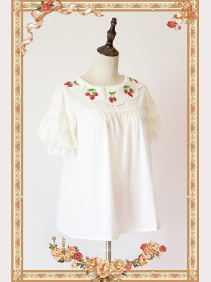 Infanta Strawberry embroidery 2 ways short sleeves chiffon lolita blouse