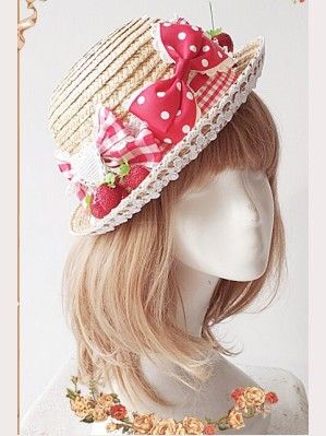 Infanta Strawberries Lolita Picnic Hat