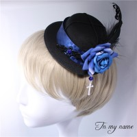 Rose & Cross Gothic Bowler Hat Hairclp