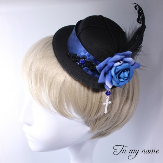 Rose & Cross Gothic Bowler Hat Hairclip