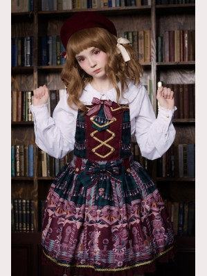 Souffle Song Chocolate Bear Suspender Skirt