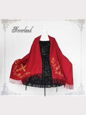 Souffle Song Wool pure color double-sided embroidery shawl