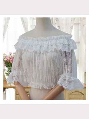 Cropped Lolita Lace Blouse Top