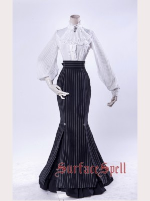 40f8b7512ac5 Surface Spell Fish Tail Striped Gothic Lolita Long Skirt