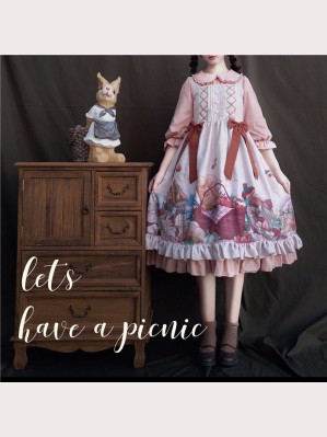Bread Hamster Picnic Lolita Dress OP & JSK 2PC Set (OFF1)