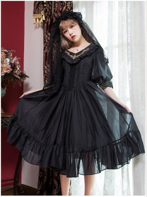 Vintage V-neck organza lolita dress OP