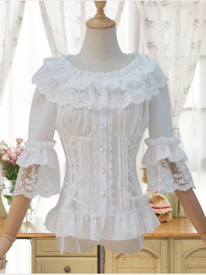 Lolita Corset Hime Sleeves Lace Slim Blouse