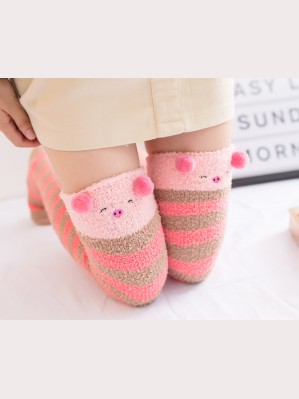 Cartoon Fuzzy Winter Warm Over Knee Socks (SK01)