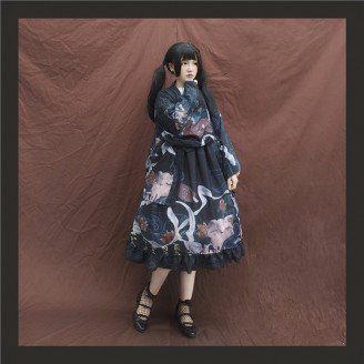 Dunhuang Cat & Poem Qi Lolita Full Set (Dress + Blouse + Haori)