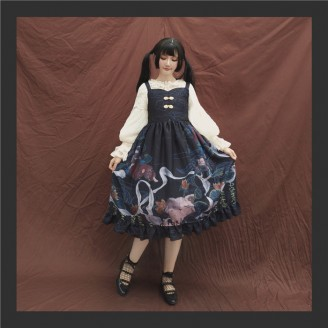 Dunhuang Cat & Poem Qi Lolita Dress JSK