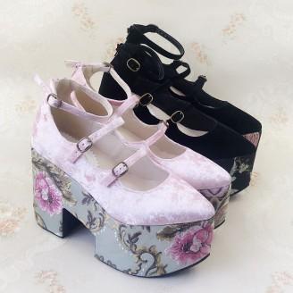 Floral Velvet Lolita Shoes (SU1)
