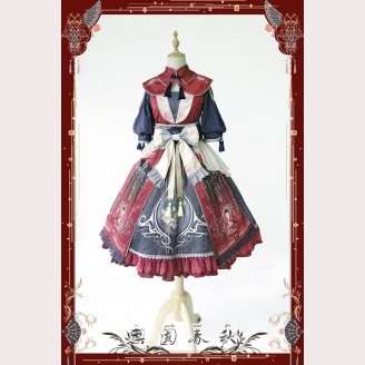 Infanta Liyuan Spring and Autumn Qi Lolita OP + Collar + Hairclip (1 pair) Full Set