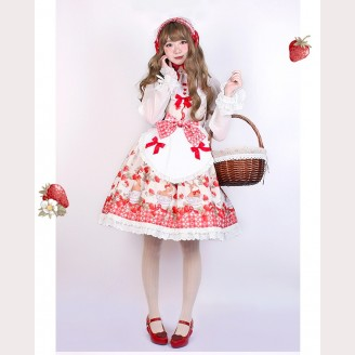 Pumpkin Cat Ichigo Cup Rabbit Lolita Dress JSK (Apron Version)