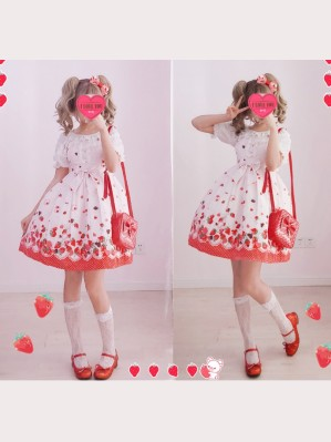 Diamond Honey Chocolate Strawberries Lolita Dress JSK & KC Set