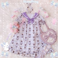 Diamond Honey Navy Cat Lolita Dress OP & KC Set