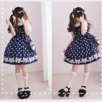 Diamond Honey Polka Dots & Bows Lolita Dress JSK & KC Set