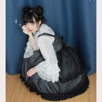 Diamond Honey Striped Lolita Dress JSK & KC Set
