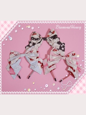 Diamond Honey Cream Strawberries lolita Headbow KC